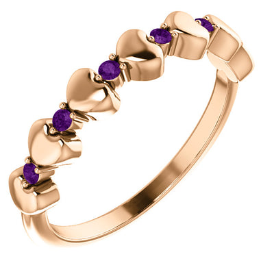 Hearts and Gemstones Stackable Ring