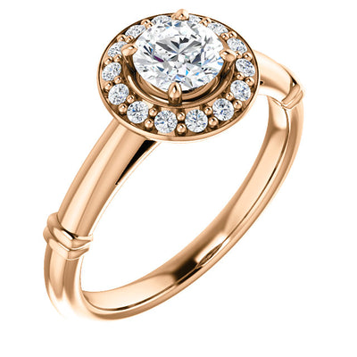 14K Gold Round Forever One™ Moissanite & Diamond Engagement Ring