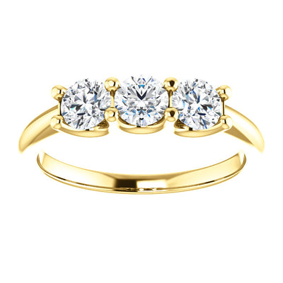 14K Gold 3/4 CTW Three-Stone Diamond Anniversary Band.