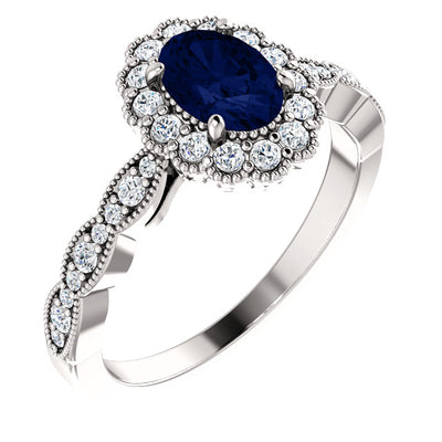 4K Gold Chatham® Created Blue Sapphire & 3/8 CTW Diamond Ring