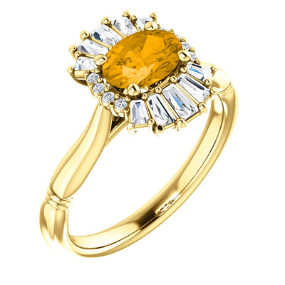 14K Gold Citrine & 1/3 CTW Diamond Ring