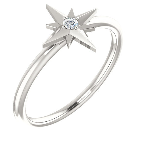 Solitaire Star Ring
