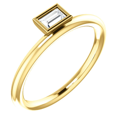 14K Gold & 1/6 CTW Diamond Asymmetrical Stackable Ring