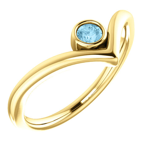 "14K Gold Solitaire Bezel Set ""V"" Ring"