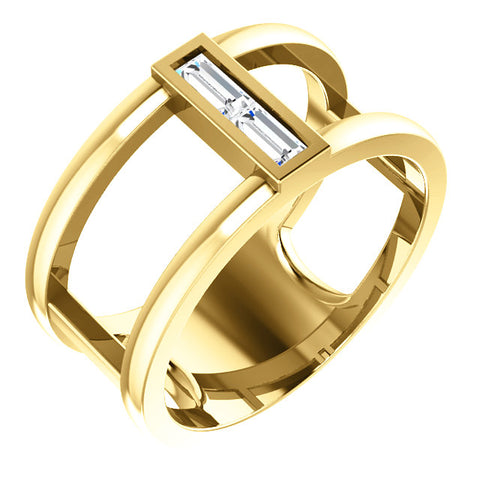 14K Gold 1/4 CTW Diamond Baguette Negative Space Ring