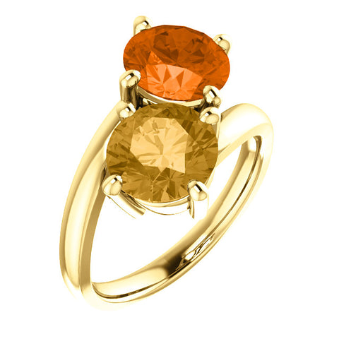 Gold and gemstone Two-Stone Ring
