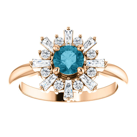 14K Gold London Blue Topaz & 3/8 CTW Halo-Style Ring