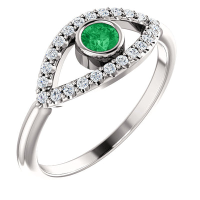 Gold Emerald & White Sapphire Eye Ring