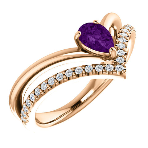 "14K Gold & Gemstone & 1/6 CTW Diamond Negative Space ""V"" Ring"