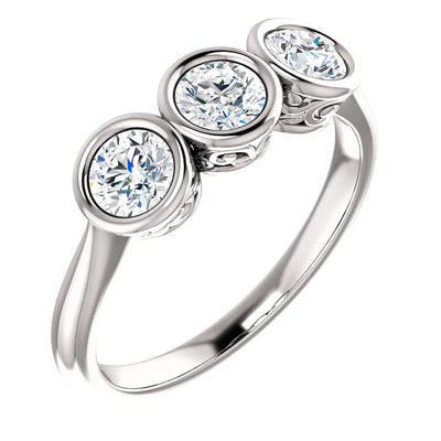 14K White 3/4 CTW Diamond Anniversary Band Three-Stone Bezel Set Anniversary Band