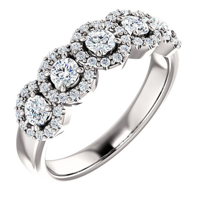 14K White 3/4 CTW Diamond Halo-Style  Anniversary Band