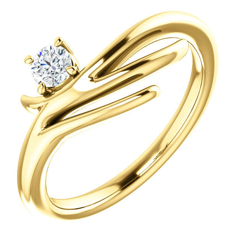 Gold & Diamond Solitaire Freeform Ring