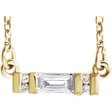 14K Gold 1/10 CTW Diamond Bar Necklace