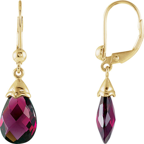 14K Yellow Gold Brazilian Garnet Earrings
