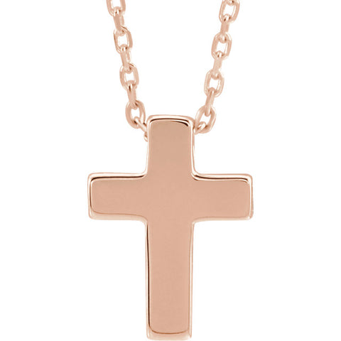 14K Rose Gold Petite Cross Necklace