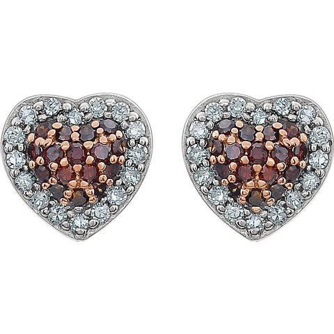 14K White Gold Diamond (1/4 CTW) Heart Cluster Earrings. Set with 32 White Diamonds and 32 Brown Diamonds - a total of 1/4 carats.