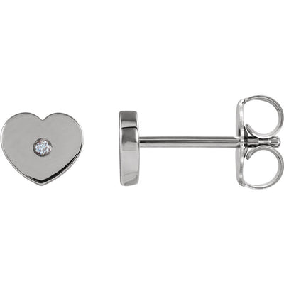 Solitaire Heart Youth Earrings