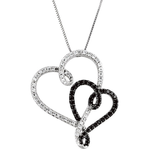 Black & White Double Heart Necklace