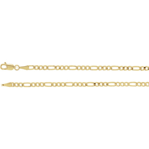 14K Gold 3mm Solid Figaro Chain