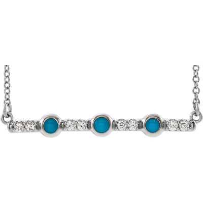 14K Gold Cabochon Turquoise and Diamond Bar Necklace