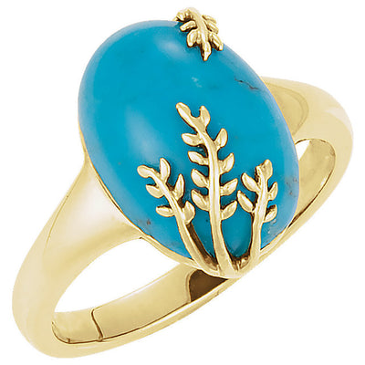Gold and Genuine Turquoise Leaf Design Ring