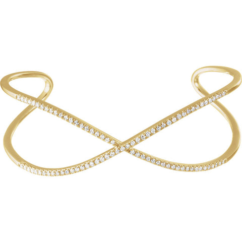 14K Gold 3/4 CTW Diamond Criss-Cross Cuff Bracelet