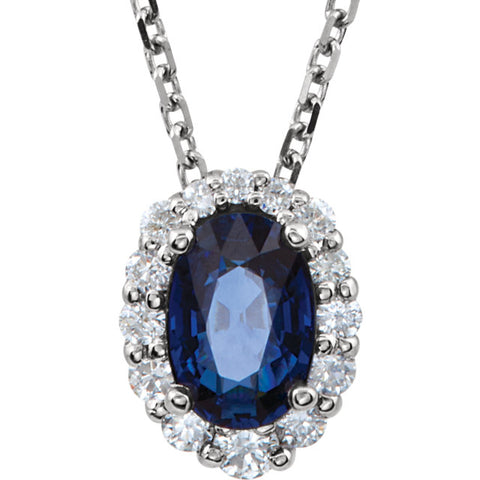 Gold & Blue Sapphire Diamond Halo-Style Necklace