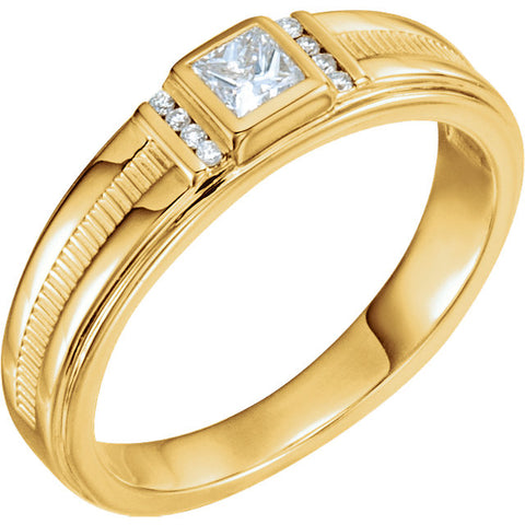 14K Solid Gold & Diamond Men's Ring
