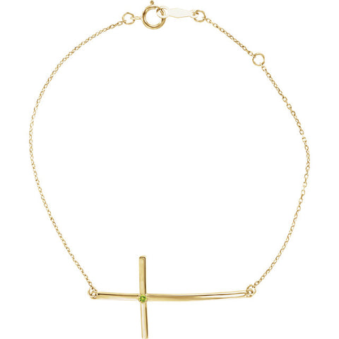 14K Gold & Gemstone Solitaire Cross Bracelet