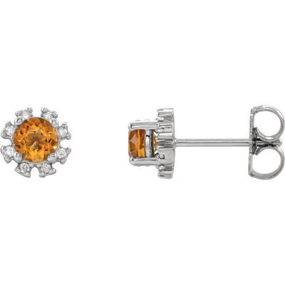 14K Gold & Gemstone & 1/2 CTW Diamond Halo-Style Earrings