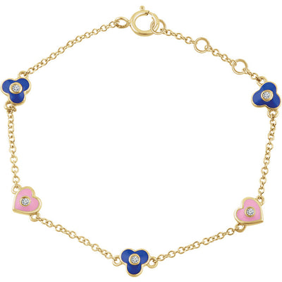 "14K Yellow .04 CTW Diamond Flowers & Hearts 7"" Bracelet"