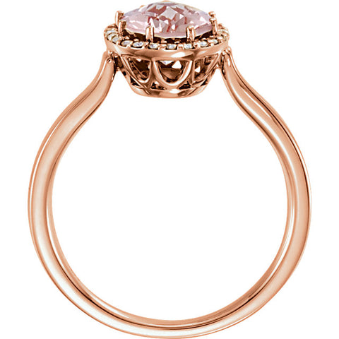 14K Gold Morganite & 1/8 CTW Diamond Ring