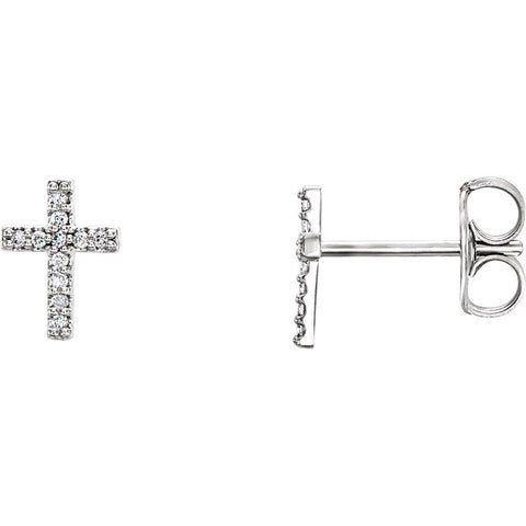 14K Gold .06 CTW Diamond Cross Earrings