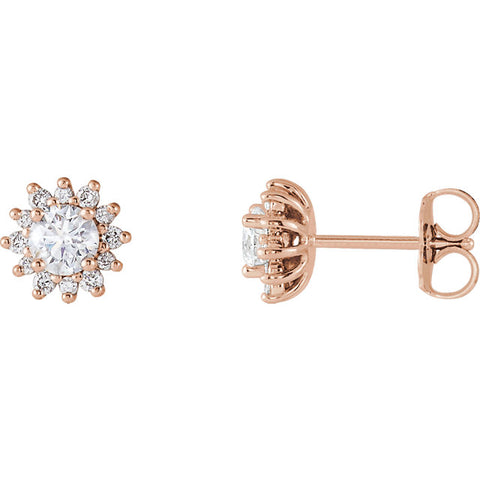 Gold 1/2 CTW Diamond Halo-Style Sun Earrings
