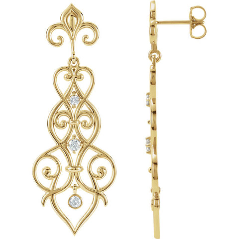 14K Yellow 1/3 CTW Diamond Decorative Dangle Earrings