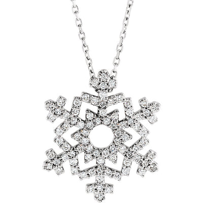 14K Gold & Diamond Snowflake Necklace