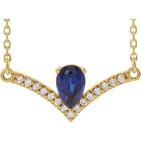 "Gold & Gemstone, Diamond Accented ""V"" Bar Necklace"