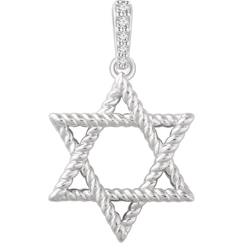 14K Gold Diamond Accented Star of David Pendant