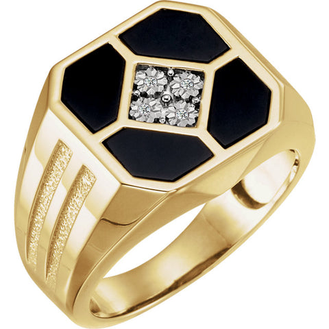 Men's Onyx & Four Stone Diamond Ring