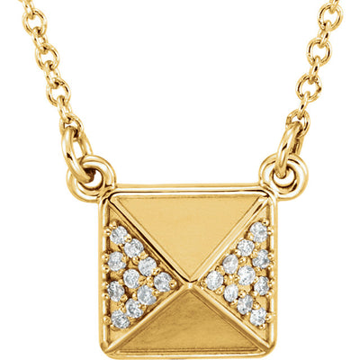 14K Gold .05 CTW Diamond Pyramid Necklace