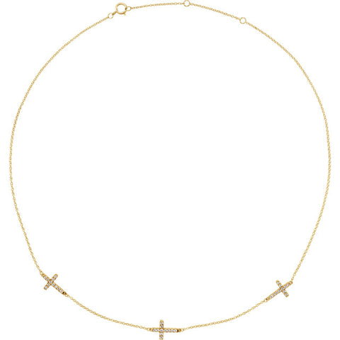 14K Gold 1/4 CTW Diamond 3 or 5 Station Cross Necklace