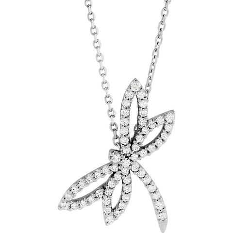 14K White Gold 1/3 CTW Diamond Dragonfly Necklace