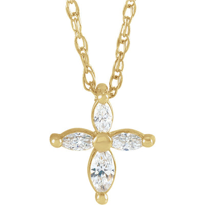 "Cross Necklace 1/6 CTW Diamond Marquise Cross 18"" Necklace"