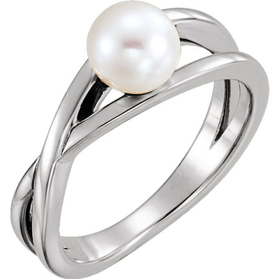Solitaire Pearl Ring - Sterling Silver