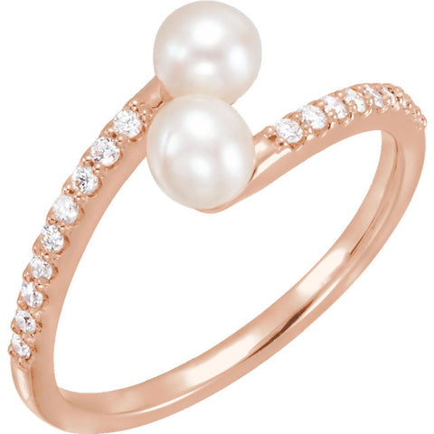 Accented Gold Bypass Pearl Ring