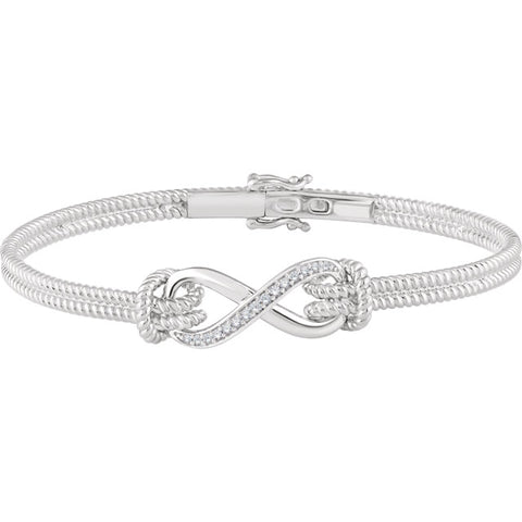 Gold and Diamond Accented Infinity-Inspired Rope Bangle Bracelet