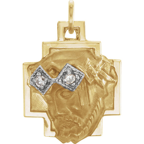 14K Gold & Diamond Face of Jesus Pendant