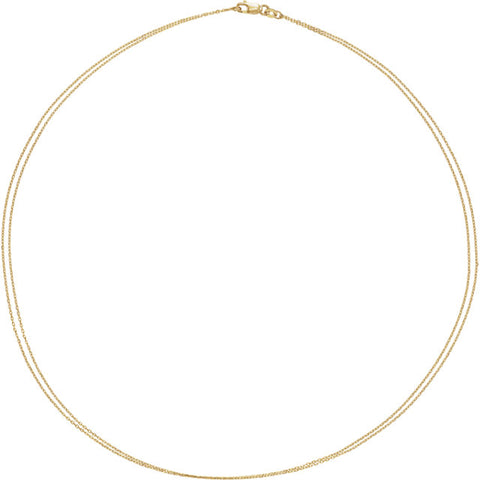 14K Gold Double Strand Diamond Cut Cable Chain