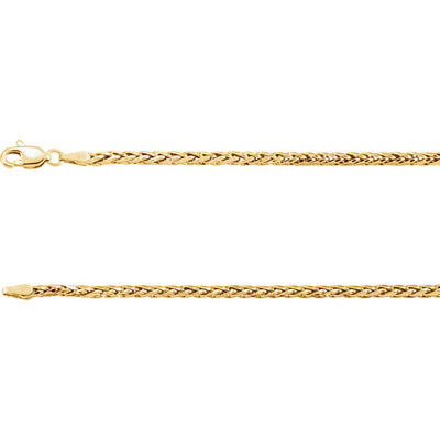 14K Gold 3mm Hollow Wheat Chain