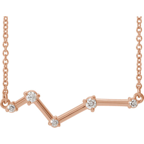 14K Gold & Diamond Constellation Bar Necklace